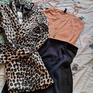 H&M black and navy mini skirt